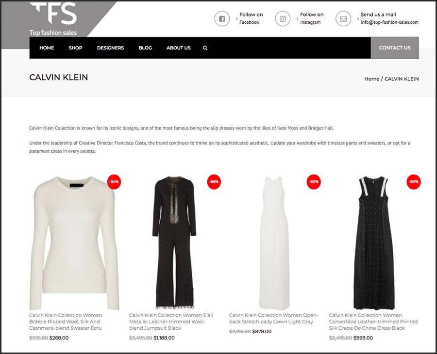 Top Fashion Sales. Websol