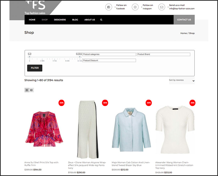 Top Fashion Sales. Websol